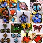 Lampwork Glass Floral Flower Butterfly Heart LOVE Bead Pendant Charms Jewelry