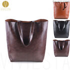 VINTAGE WAXED LARGE CABAS TOTE Women's Simple Casual Handle Leather Bag Handbag