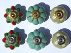 Choice of 6 - Green Ceramic Porcelain Door Knob Handle Drawer cupboard pull