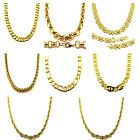 New Mens 20 24 30 36 Inch 4 6 8 10 12 13mm Heavy 24K Gold Plated Hip Hop Chain