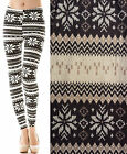 Womens Fairisle Printed Jersey Pants Ladies Aztec Pattern Long Leggings UK 8-14