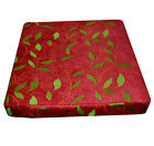 wh03t Lime Orange on Bright Red Plant Leaf Thick Cotton 3DBox Seat Cushion Cover