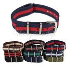 18mm 20mm Military Nylon Wrist Watch Band Strap Stainless Steel Buckle Durable