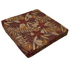 wf04t Brown Red Brown Gold Beige Jungle Flower Cotton 3D Box Seat Cushion Cover