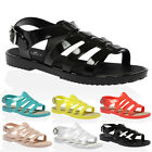New Womens Strappy Buckle Ladies Peep Toe Cut Out Jellies Sandals Shoes Size 3-8