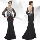 Ever Pretty Black Long Sleeve Formal Evening Party Prom Dress 08363 UK Sz 6-14