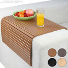 Sofa Arm Rest Tray Couch Chair Cover Flexible Snack Table Trivet Mat Bamboo Wood