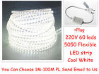 5050 Cool White AC220V Waterproof Flexible LED SMD strip ROPE Light +Plug IP65