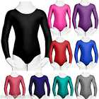 Girls Leotard Gymnastic Dance Ballet School Uniform Long Sleeve Lycra 3-14 yrs