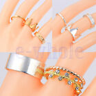 1 Set 3pcs Women Vogue Crown Crystal Knuckle Midi Finger Tip Stacking Rings EW