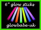 "10 x 6"" GLOWSTICKS NEON UV RAVE GLOW STICKS PARTY BAGS GLO STICKS 9 COLOURS"