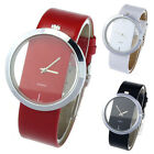 1PC New PU Leather Transparent Dial Hollow Analog Quartz Wrist Watch Ornate