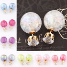 Cute Candy Color Double Side Round Pearl Earings Resin Crystal Ball Ear Studs