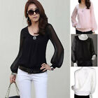 New Fashion Ladies Women's Chiffon Tops Long Lantern Sleeve Shirt Casual Blouse