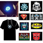 Mens Womens Sound-Activated EL LED Design T-shirt Clubbing Party Dance Flash Tee