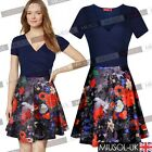 Women Cool Summer Sexy V-neck Floral Print Bodycon Casual Party Short Mini Dress