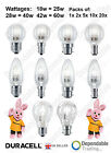 DURACELL HALOGEN ENERGY SAVING GLS GOLF BALL & CANDLE BULBS SES SBC ES BC