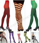 Womens Striped Tights Red Orange Purple Green Stripey Tights Halloween Tights