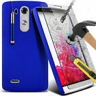 Hard Back Skin Case Cover, Pen & Tempered Glass Screen Protector For LG G3