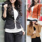 Womens Puff sleeve Small Suit elegant Slim fit Double Breasted Jacket Coat