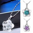 Women Noble Silver Crystal Stone Inlay Chain Flower Pendant Lady Necklace