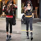 Sporty 2pcs Women Color Block Outfits Tracksuit Running Sweat Suit Hoodie Pants