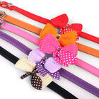 Knit Bowknot Adjustable PU Leather Dog Puppy Pet Collars Necklace