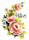 F64 ~ Pink Jeanette Rose Spray Ceramic Decals, 5 sizes to choose Flowers bouquet image