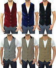 Mens Designer Marc Darcy Tailored Fit Waistcoat Smart Tweed Velvet Blazer Jacket