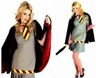Ladies Wizard School School Girl Witch Costume Grey Maroon Yellow Fancy Dress
