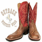 Lucchese Heritage Men's Burnished Tan Full Quill Ostrich Square Toe Boots HL2002