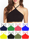 Womens Strappy Sleeveless Crop Top Ladies Triangle Vest Bralet Summer Basic Top