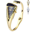 Womens Crystal Quartz Bracelet Cuff Bangle Wrist Watch,Triangle Dial