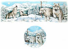 "A47 ~ White Wolves Running in Snow on Ceramic Decals, 2"" Round or Mug Wrap, Wolf image"