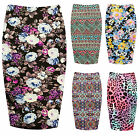 Womens Paisely Printed Jersey Midi Skirt Ladies Floral Aztec Tube Skirt Plus8-22