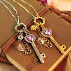 Fashion Women Gold/Silver Love Heart Key Pendant Long Chain Necklace Jewelry