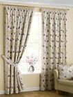 Cotton Mauve Ready Made Pencil Pleat Curtain Pair Butterfly Design