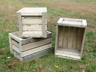 Rustic Primitive Wood Reclaimed Pine Wooden Crates Shelf Display, Weathered