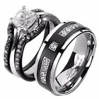 4 Piece His Titanium Hers Black Stainless Steel Matching Wedding Ring Bands Set