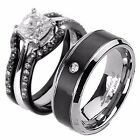 4 PCS His Titanium & Hers Black Stainless Steel Matching Wedding Ring Bands Set