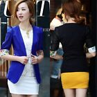 Fashion 3/4 Chiffon Sleeve One-button Faux Pocket Womens Suit Blazer Outwear Top