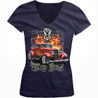 Ford V8 Deuce Wild Ride 1932-2007 Classic Hot Rod Girls Junior V-Neck T-Shirt