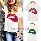 Sexy Women Sequined Lip Short Sleeve T-Shirt Summer Casual Loose Tops Blouse