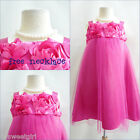 Adorable Fuchsia/Hot pink summer wedding flower girl party dress FREE NECKLACE