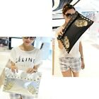 Women Punk Messenger Handbags Skeleton Rivet Shoulder Cross-body Envelope Bags W