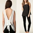 Women Summer Chiffon Sleeveless Blouse Vest Shirt Tops Backless Bowknot Tops S