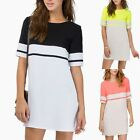 Working Dresses Lady Office Fashion Casual Short Sleeve O-neck Straight Dress S