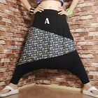 Women Drop Crotch Flower Trousers Pants Baggy Hippy Tapered Gypsy Genie Black