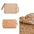 Womens Handbag Ladies Clutch Pyramid Studded Shoulder Strap Faux Leather Patent