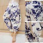 Men Drop Crotch Flower Trousers Pants Baggy Hippy Tapered Gypsy Genie Aladdin